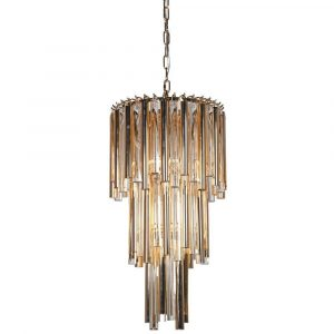 Chandelier - Amber Glass & Chrome 3 Tiered Chandelier - 5 Lights