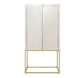 Drinks/Bar Cabinet - Bevel Mirrored 2 Door Drinks Cabinet - Brass Base