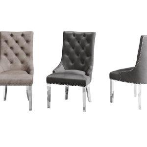Deep Buttoned Curved Back Dining Chair - Dark Grey Velvet - Lion Knocker