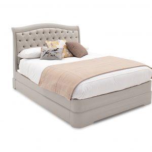 6ft Super King Size Bed - Deep Buttoned - Taupe - Isabel Bedroom Range