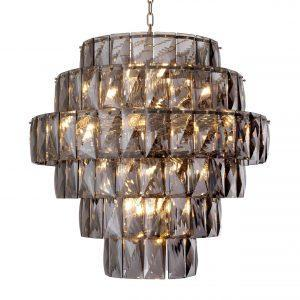 26 Light - 6 Tiered Cut Smoked Crystal Large Chandelier - Chrome Surround