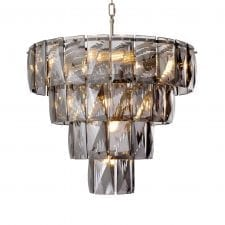 14 Light - 4 Tiered Cut Smoked Crystal Chandelier - Chrome Surround