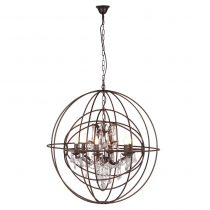 Cut Crystal Glass 6 Arm Double Sphere Chandelier