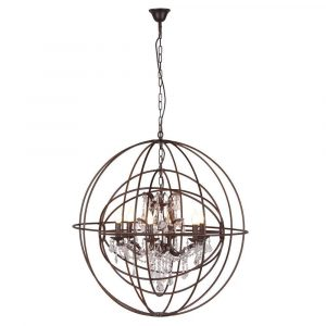 Chandelier - Cut Glass 6 Arm Double Sphere Large Iron Chandelier