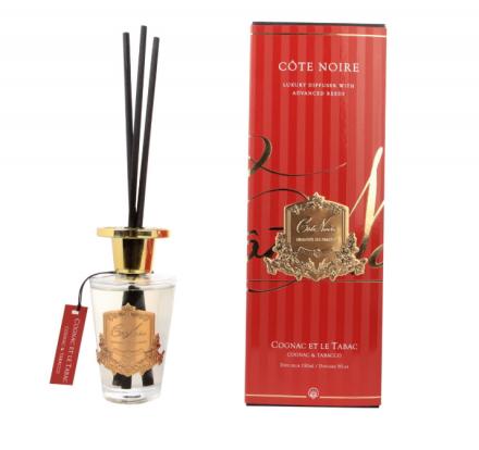 'Cognac & Tobacco' Reed Diffuser - Cote Noire Glass Bottle -150ml