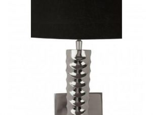 Twisted Chrome Long Wall Light - Black Shade  Black cotton shade Dimensions: H: 99cm x W: 27cm cm D: 27cm For all our Wall Light selection, including new ones added daily - CLICK HERE