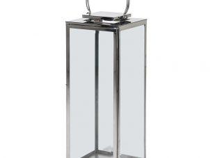 Large Steel Floor Standing Square Hurricane Lantern - Glass Sides