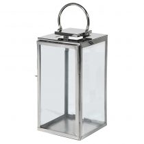 Small Steel Floor Standing Hurricane Lantern - Glass Sides