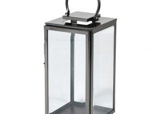 Large Black Steel Floor Standing Hurricane Lantern - Glass Sides