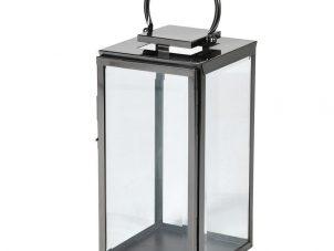 Small Black Steel Floor Standing Hurricane Lantern - Glass Sides