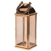 Medium Highly Polished Gold Metal Hurricane Lantern - Rope Handle