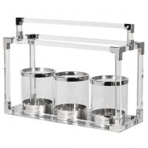 Hurricane Lantern - Chrome & Acrylic 3 Glass Large Table Top Candle Holder Finished in polished Chrome, Acrylic & Glass Indoor use advised - or do not leave out in the rain For matching and alternative Hurricane Lanterns - ClickHERE For daily updates - follow us on FACEBOOK H: 47cm W:65cm D:23cm