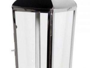 Hurricane Lantern - Floor Standing - Glass Sides - Chrome Finish - Medium