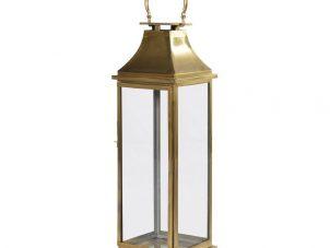Hurricane Lantern - Large Antique Brass Floor Standing Hurricane Lantern