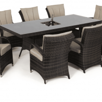 Rectangular Outdoor Dining Set - 8 Seat - Central Ice Bucket - Brown Polyweave
