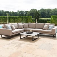 All Weather Garden Fabric Corner Sofa Group - Coffee Table - Large - TAUPE