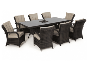 8 Seat Rectangular - Outdoor Dining Set - Central Ice Bucket - Brown Polyweave