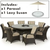 8 Seat Round Dining Set - Central Ice Bucket - Umbrella - Brown Polyweave