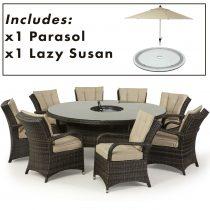 8 Seat Round Dining Set - Central Ice Bucket - Umbrella - Brown Polyweave