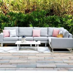 All Weather Garden Fabric Corner Sofa Group - Coffee Table - LEAD CHINE - LARGE