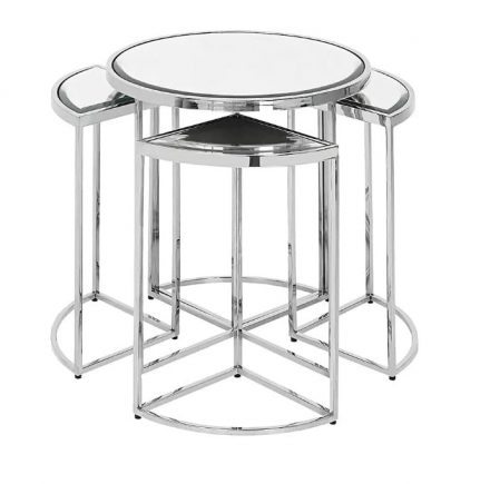 5 Piece Side Table - Chrome Based - Mirror Top - 5 Piece Nesting Table