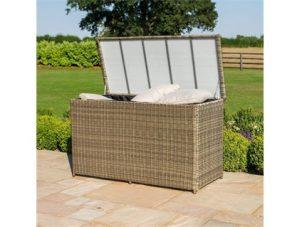 Garden Storage Box - Large Watertight Storage Box - Light Brown Poly Rattan