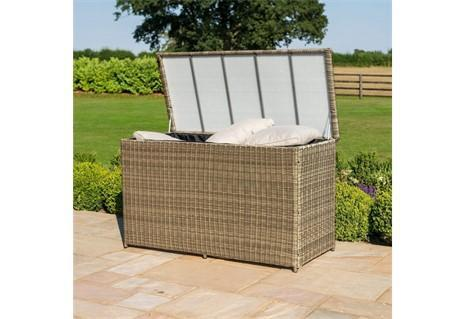 Garden Storage Box - Large Watertight Storage Box - Light Brown Poly Rattan