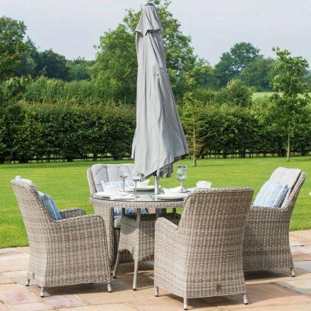 4 Seat Round Garden Table Set - Umbrella & Base - Venice Chairs - Grey Polyrattan
