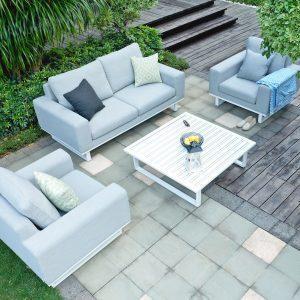 Sofa & Chair Garden Sofa Set - Coffee Table - All Weather Garden Fabric - LIGHT GREY