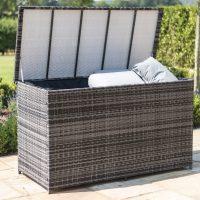 Garden Storage Box - Large Storage Box - Mixed Grey Flatweave