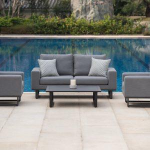 Sofa & Chair Garden Sofa Set - Coffee Table - All Weather Garden Fabric - GREY