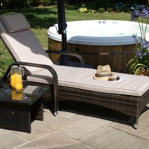 Single Sunlounger & Glass Top Table Set - Brown Polyweave Rattan