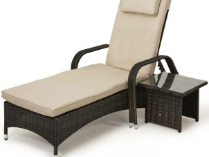 Single Sunlounger & Glass Top Table Set - Brown Polyweave Rattan
