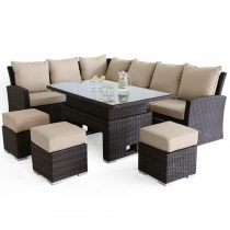 Garden Corner Sofa Dining Set - Rising Dining Table - Brown Polyweave