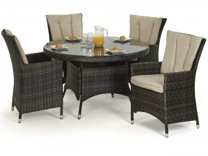 4 Seat Round Garden Dining Set - Brown Polyweave
