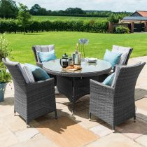 Round Dining Set - Round Glass Top Table & 4 Chairs - GREY POLYWEAVE