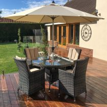 4 Seat Round Garden Dining Set - Inset Ice Bucket - Lazy Suzy - Brolly - Brown Polyweave