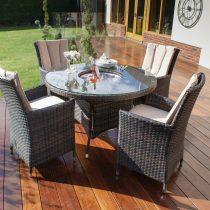 4 Seat Round Garden Dining Set - Inset Ice Bucket - Lazy Suzy - Brown Polyweave