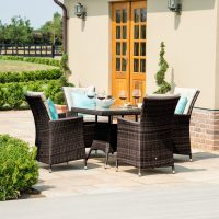 4 Seat Square Garden Dining Set - Brown Polyweave