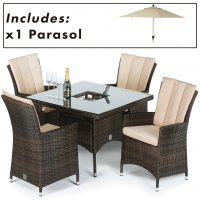 4 Seat Square Garden Dining Set - Umbrella & Base - Brown Polyweave