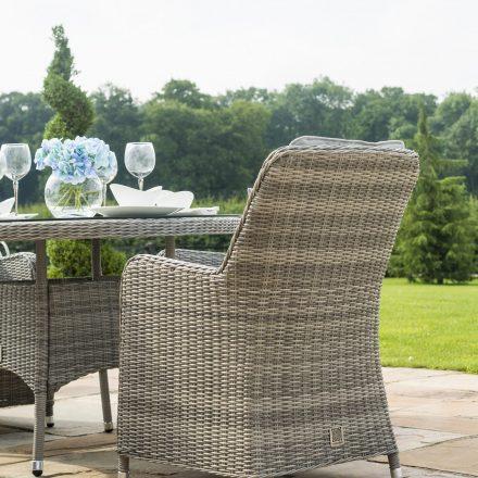 6 Seat Round Garden Table Set - Inset Ice Bucket - Umbrella - Venice Chairs - Grey