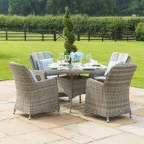 4 Seat Round Garden Table Set - Venice Chairs - Grey Polyrattan