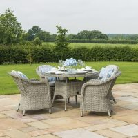 4 Seat Round Garden Table Set - Grey Polyrattan - Heritage Chairs