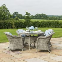 4 Seat Round Garden Table Set - Grey Polyrattan - Heritage Chairs