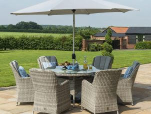 6 Seat Round Garden Table Set - Inset Ice Bucket - Umbrella - Venice Chairs - Grey