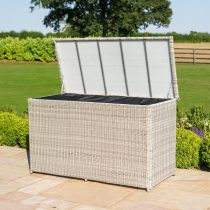 Garden Storage Box - Large Storage Box - Grey Poly Rattan