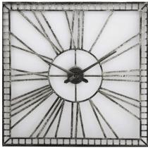 Large Square Wall Clock - Distressed Black Metal Finish - Roman Numerals