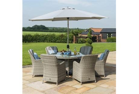 6 Seat Round Garden Table Set - Ice Bucket - Umbrella - Grey Polyrattan