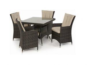 4 Seat Dining Set - Square Garden Dining Set - Brown Polyweave