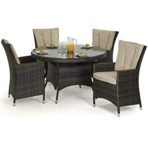 4 Seat Round Garden Dining Set - Brolly & Base - Lazy Suzy - Brown Polyweave
